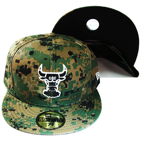 New Era NBA Chicago Bulls 5950 Classic Fitted Hat Vintage Digital Camouflage Cap