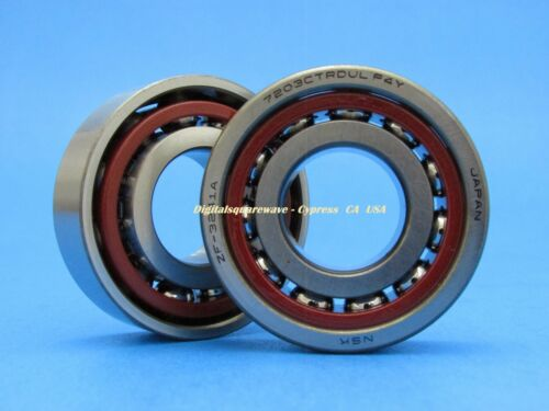 NSK 7203CTRDULP4Y Abec-7 Super Precision Spindle Bearings. Set of Two