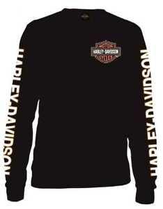 Harley-Davidson 's Long Sleeve Orange Bar & Shield Black Shirt ...