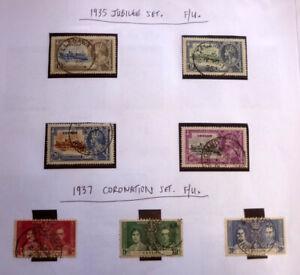 LOT-OF-7-OLD-CEYLON-STAMPS-KGV-amp-KGVI-1935-JUBILEE-amp-1937-CORONATION-F-U