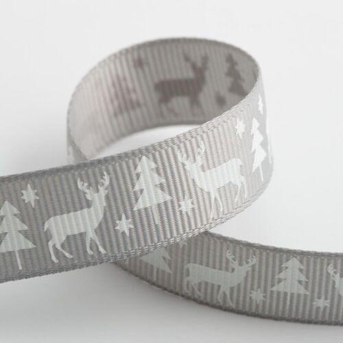 Christmas Grosgrain Ribbon 16mm Wide 1m Lengths Full Roll Bow Making Craft