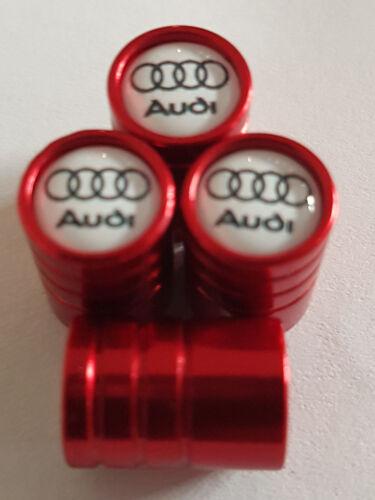 AUDI White Top Rosso Deluxe auto valvole tappi cerchi in lega polvere tutti i modelli TT A6 Q3