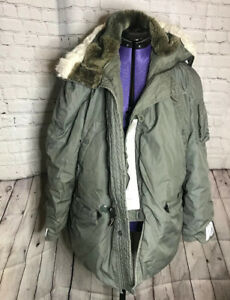 Vintage-Army-Extreme-Cold-Weather-Parka-With-Synthetic-Fur-Hood-Size-Med
