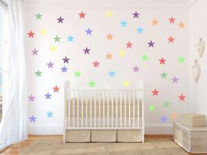 Details About Pastel Stars Multicolour Wall Art Sticker Kit Decal Nursery Subtle Soft Sorbet