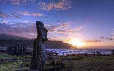 Framed Print - Easter Island Monumental Moai Statues (Picture Rapa Nui Art)