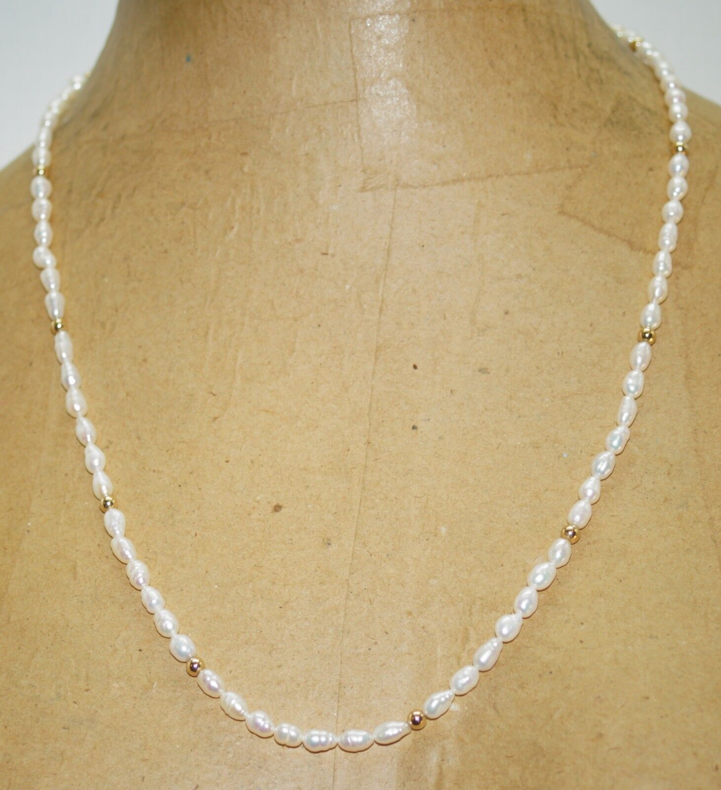 White Baroque Oblong Pearls 14k Yellow gold Accents 24