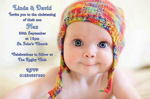Details About BEAUTIFUL PERSONAL OWN PHOTO CHRISTENING BAPTISM BIRTHDAY INVITATIONS THANK YOU