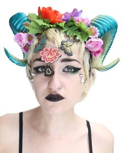 Good-Witch-Fairy-Fantasy-Goth-Fawn-Rams-Horn-Floral-Psytrance-Halloween-Crown-He