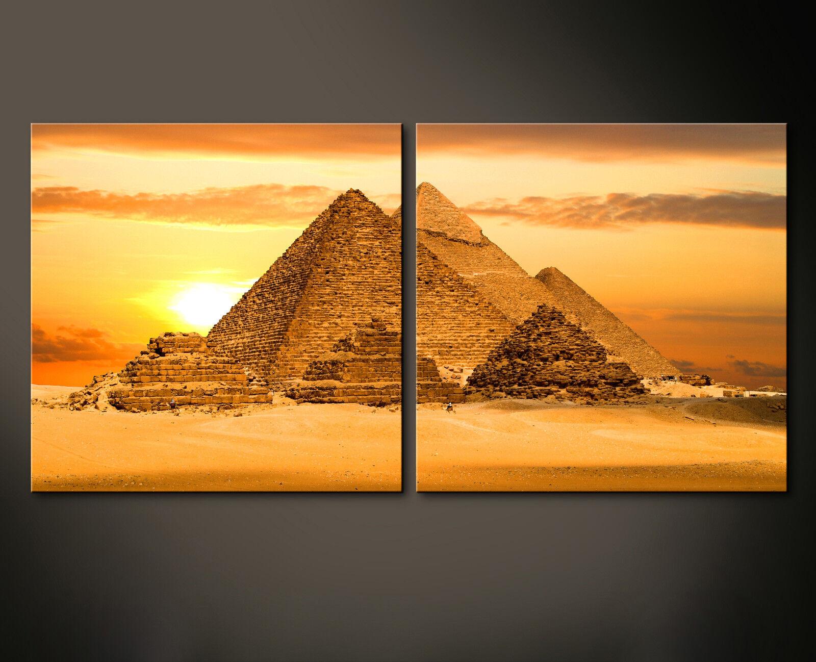 PYRAMIDS WALL Leinwand Bild Bilder Pyramiden Agypten Pharao Gizeh Orange XL Deko