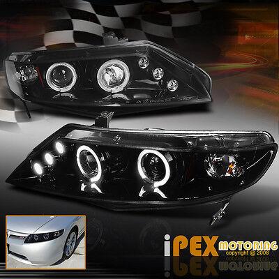 2006-2011 Honda Civic Sedan 4DR *GLOSSY BLACK*  Halo LED Projector Headlights