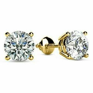 Gorgeous-2-00-Ct-Round-Sparkle-Moissanite-Stud-Earrings-14K-Yellow-Gold-Finish
