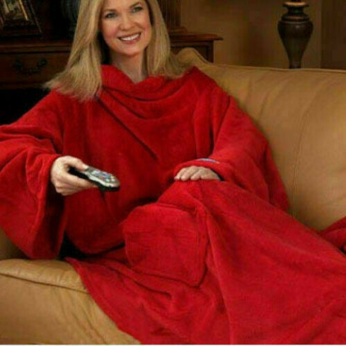 Super Soft Snuggle Wrap Blanket Fleece With Sleeves Colours BURGUNDY