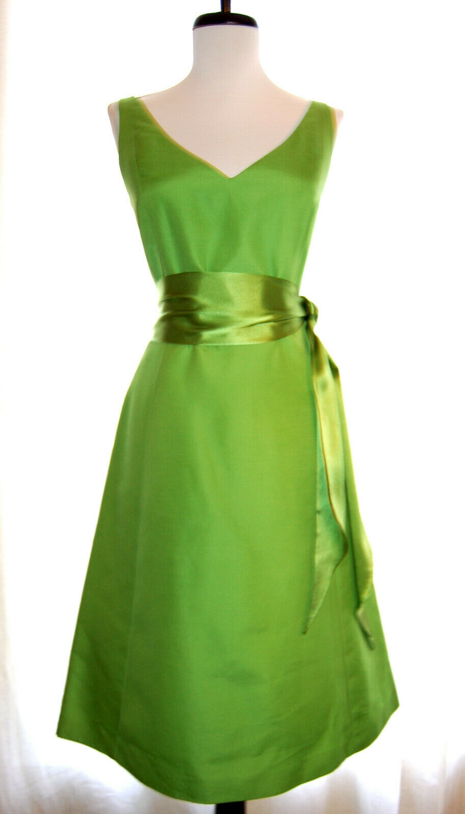 NEW J CREW cotton taffeta Grün sleeveless v-neck dress satin sash belt 4 NWT