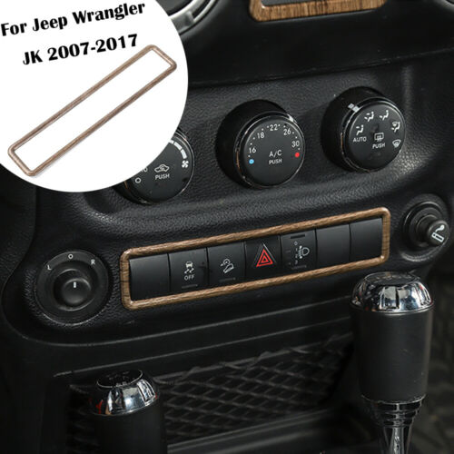 For Jeep Wrangler 2011-2017 Wood Grain Warning Light Switch Frame Cover Trim ABS