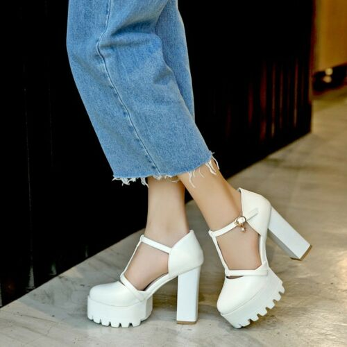 Summer Women Chunky Heel Platform Round Toe Ankle Strap Sandals Shoes Pumps New
