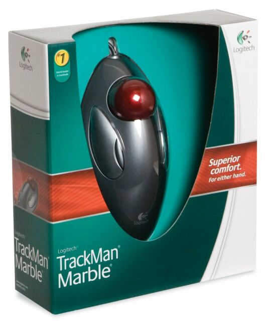 1a294918ccf Logitech Trackman Trackball Computer Tablet PC Marble Mouse Scroll Black Red