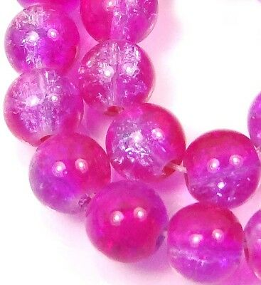 8mm Czech Glass Crackle Cracked Round Beads Magenta// Blueish Crysta Two tong