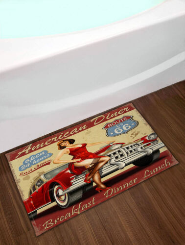 """American Diner Route 66 Vintage Car Beauty Girl Fabric Shower Curtain Set 72//79/"""""""