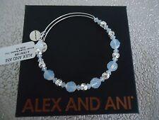 Alex and Ani CLOUD SWAROVSKI BEADED BANGLE Shiny Silver New W/Tag Card & Box