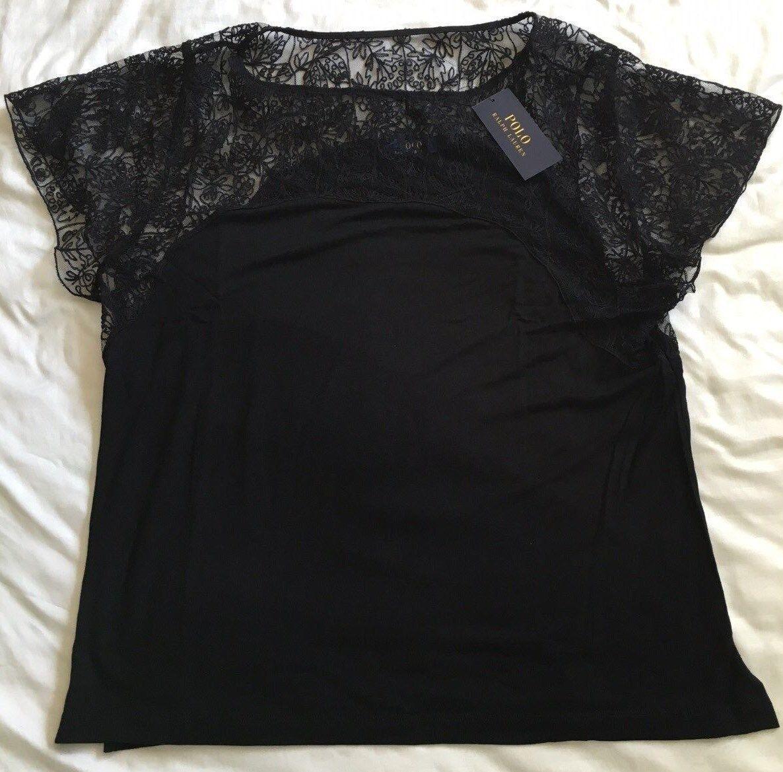NWT 2016 damen Polo Ralph Lauren Lace-Yoke Top schwarz Größe XS, S, L, XL  Gift