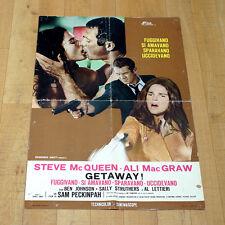 GETAWAY manifesto poster Steve McQueen Ali MacGraw Peckinpah Kiss Gun Bacio Love