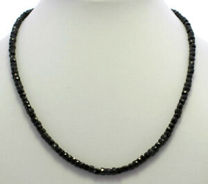 Spinel Necklace Precious Stone 925 Silver Black Faceted Necklace Cuboid 45 CM
