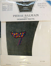 Pierre Balmain Medium Size Ultrafine Black Designer Tights with Mask Mofif