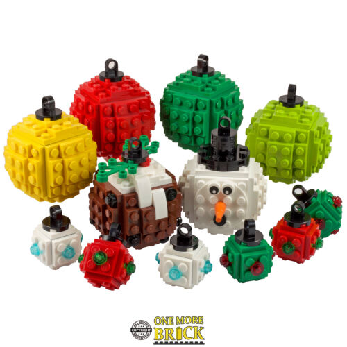 Pudding Baubles x4 Lego Christmas Bauble Decoration other styles available