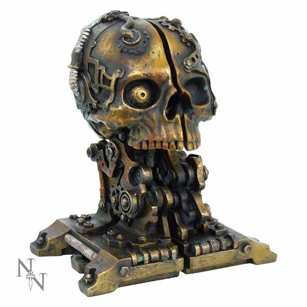 Cranial Steampunk Skull Book Ends Shelf Tidy Ornament Gothic Decor Gift
