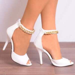 WHITE PEEP TOES FAUX LEATHER STRAPPY SANDALS PEEP TOES SHOES UK 5 6 7 8