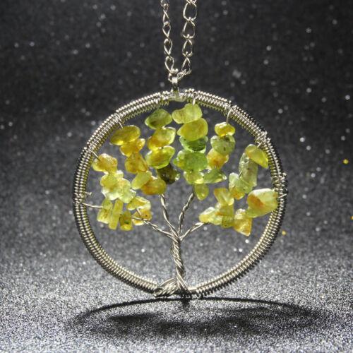7 Chakras Tree Of Life Reiki Healing Gemstone Charms Pendant Yoga Necklace