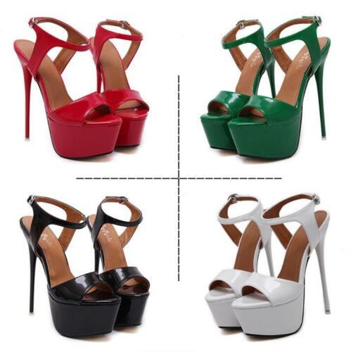 Fashion Women Super High Heels Platform Pumps Ankle Strap Stiletto Sandals Shoes