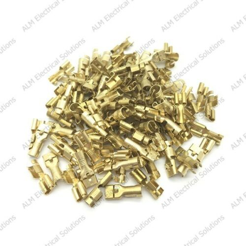 50 Pack Brass 6.3mm Female Spade Terminals Connectors For Cable 2.5-6.0mm²