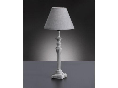 Tischleuchte POSTE antik Wohnzimmerlampe Honsel-Leuchten Stoffschirm grau