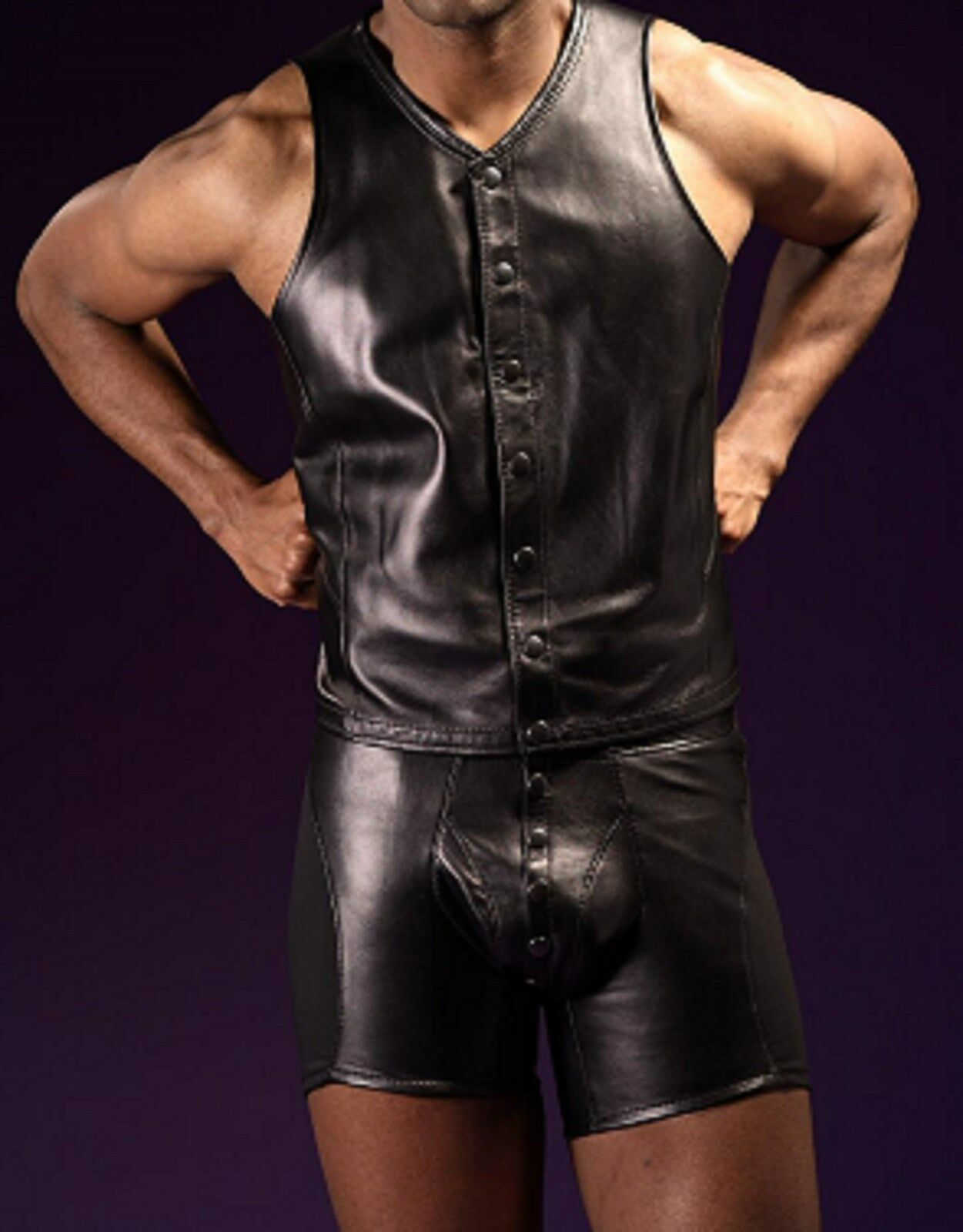 Sexy Leather Look Sleeveless Vest T-Shirt and Briefs Popper Front