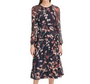 Tommy-Hilfiger-Womens-10-Black-Red-Corsage-Print-Chiffon-Lined-Midi-Dress-NWT