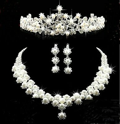 new bride wedding Jewelry faux pearl Rhinestone comb necklace earrings big Crown