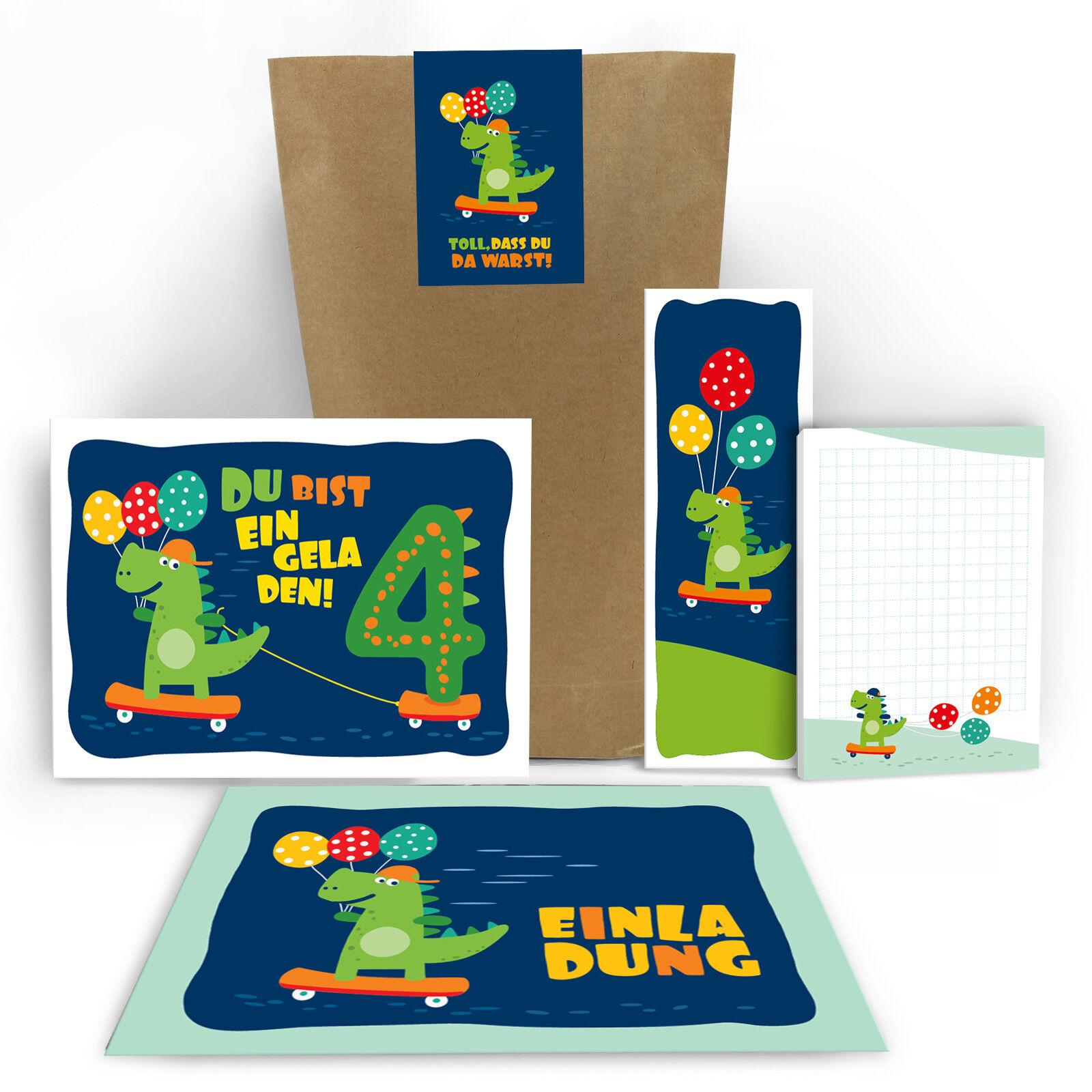 Einladungskarten vierte 4 Kindergeburtstag Dienosaurier Mitgebsel Gastgeschenk   | Spielzeugwelt, spielen Sie Ihre eigene Welt  | Vorzügliche Verarbeitung