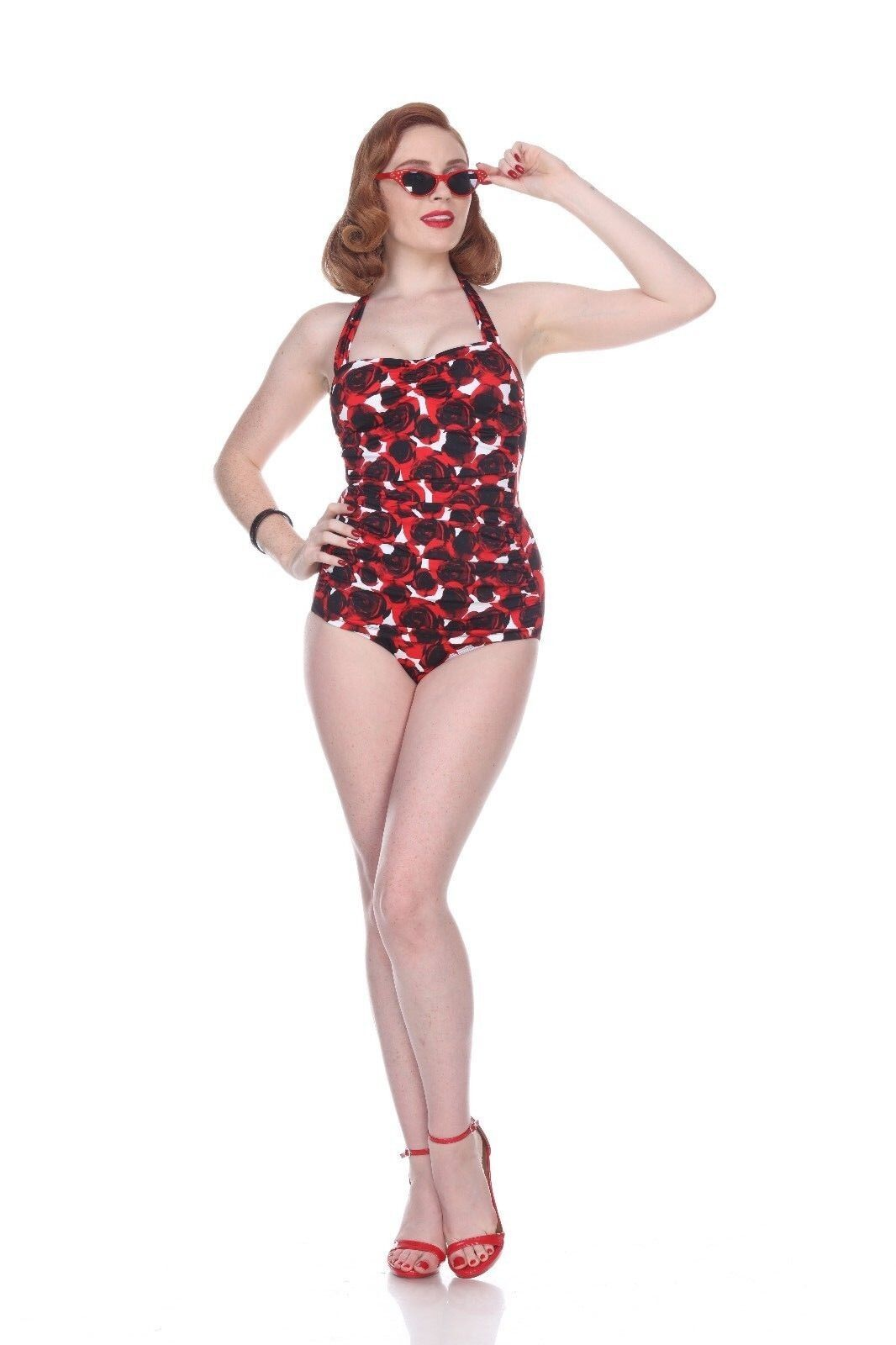 Esther Williams Classico Guaina Burning Love rosa Pinup Costume Intero E11174