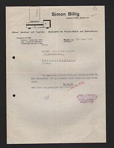 SIEGEN, Brief 1939, Simon Billig Möbel Gardinen Teppiche | eBay