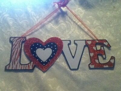 "LOVE 15"" Red Glitter Zebra Heart VALENTINE Plaque Greet Sign Ribbon Wall Hang"