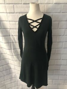 Details About Nwt Bcx Lace Up Sweater Dress Forest Green Teal Sz S Long Sleeve Flare New 59