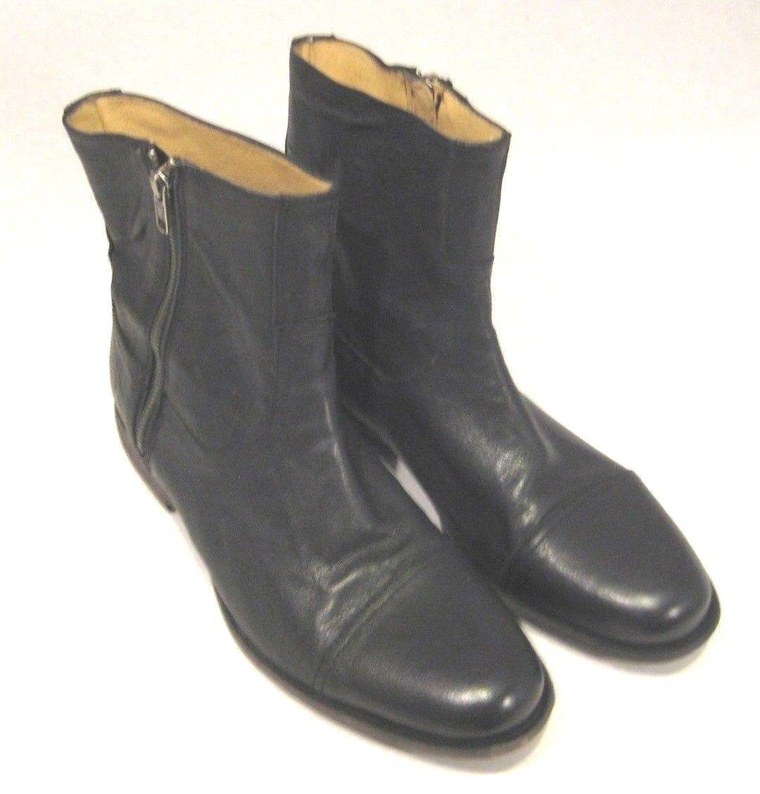 Frye SideZip Black Leather Ankle Boots 8.5 D M Casual Dress Cap Toe Outside