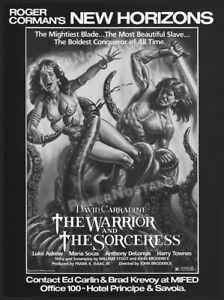 WARRIOR and the SORCERESS__Original 1984 Trade print AD / advert__Roger Corman