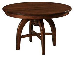 Amish-Mid-Century-Modern-Round-Dining-Table-Solid-Wood-42-034-48-034-Leaf-Extensions