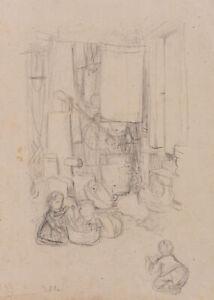 O.PLETSCH (*1830), Kinder beim Spiel in der Waschküche, um 1870, Bleistiftzchng