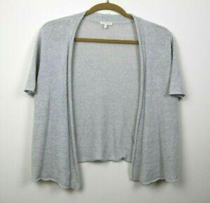 Eileen-Fisher-Womens-Cardigan-Sweater-Short-Sleeve-Open-Front-Gray-Size-1X-EUC