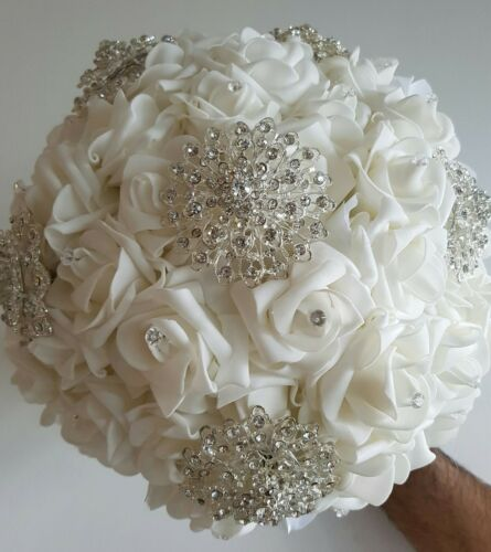 WHITE LARGE FOAM ROSE VINTAGE STYLE BROOCH WEDDING BRIDAL BOUQUET