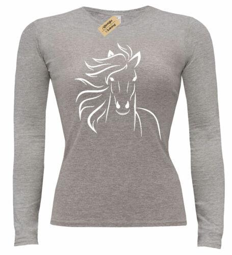 Mesdames Cheval Outline T-shirt à manches longues Animal Femme Cowgirl équestre