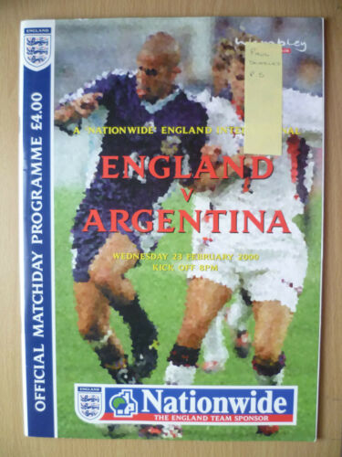 Friendly International 2000 ENGLAND v ARGENTINA, Hand Signed by PAUL SCHOLES